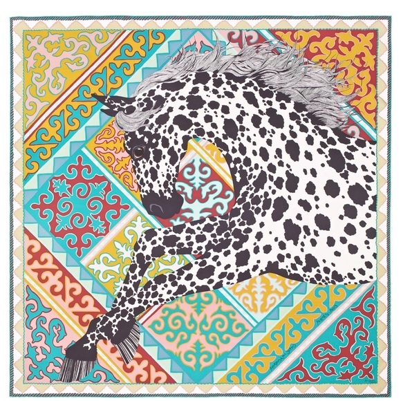 Hermes Other   Herms Appaloosa Des Steppes 100 Silk Twill Scarf ... 517fd023150